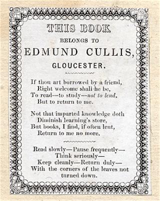 Book Label Edmund Cullus