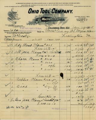 Ohio Tool Company Billhead 1904