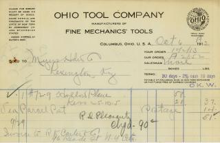 Ohio Tool Company Billhead 1913
